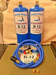 R12 Refrigerant R-12, 2 28 Oz. Cans, With Leak Stop, Proseal Xl4, 1 To 5 Hp
