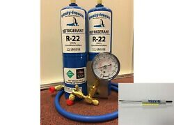R22 Refrigerant R-22 Air Conditioner 2 28 Oz Cans Large Recharge Kit-22k