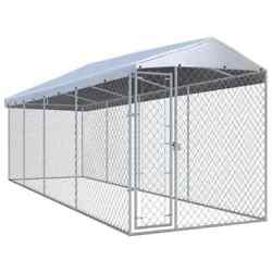 299x75.6x94.5and039and039 Outdoor Dog Kennel Steel Cage Run Playpen Shade House W/cover