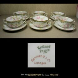 6 Antique Haviland Limoges Schleiger 66 Blank 27 Cream Soup Cups And Saucers