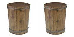 Two Ceylon Farmhouse Wine Barrel Inspired Wood Round Accent End Table Uttermost