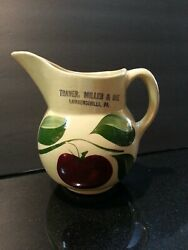 Watt Pottery Apple Advertising Pitcher 15 Traver Miller And Dye Lawrenceville Pa