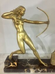 French Art Deco Bronze Diana The Huntress Signed Soleau C1930