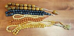 Old Ottoman Amber Bakelite Catalin Authentic Carved Beads Rare Necklace