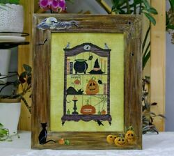 Framed Completed Finished Cross Stitch Embroidery Halloween Pumpkin Cat Spider