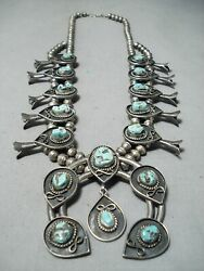 Womenand039s Rare Turquoise Vintage Navajo Sterling Silver Squash Blossom Necklace