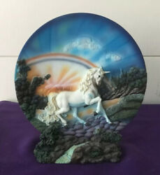 """Medieval Legends 7"""" 3d Ceramic Unicorn Plate And Stand"""