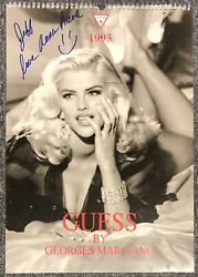 Anna Nicole Smith Died 2007 Signed 1993 Guess Calendar Playboy Playmate Bas