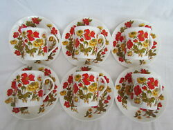 6 X Pretty Elizabethan Fine Bone China Coffee Cup And Saucer Sets Meadow Flower