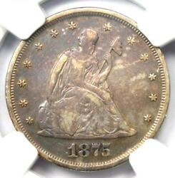 1875-p Twenty Cent Coin 20c - Ngc Xf Details Ef - Rare Date 1875 Coin