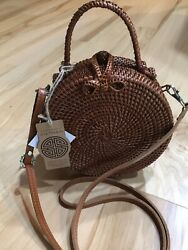 Anthropologie Top Handle Round Rattan Wicker Purse Crossbody Bag With Handle Nwt
