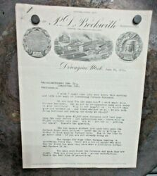 Round Oak Stove Dowagiac Mi Beckwith Sales Letter 1911 To Loogootee Ind Hardware