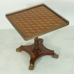 Mahogany Occasional Center Table Brass Ormolu Intricate Wood Inlay Claw Foot