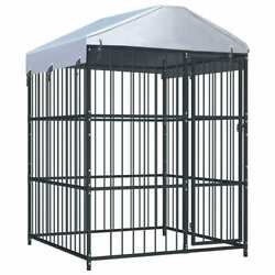 59.1x59.1x82.7and039and039 Outdoor Dog Kennel Steel Pet Cage Run Fence Shade House W/cover