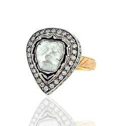 Natural Pave Diamond Pear Shape Victorian Ring 925 Sterling Silver Jewelry Gift