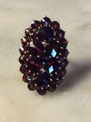 Large Antique Solid 14k Yellow Gold Bohemian Red Garnet Cluster Ring 8