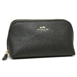 NWT COACH Cosmetic Case Make Up Case Leather Bag Travel Pouch Black F57857 $50.00