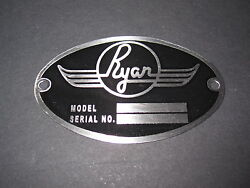 Ryan Aircraft Dea Required Aircraft Identification Data Plate Etched Stainless
