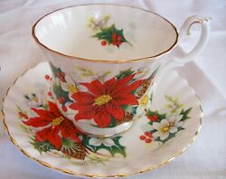 Royal Albert Poinsettia/ Yuletide Cup And Saucer - England