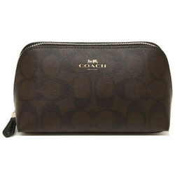 NWT COACH Cosmetic Case Make Up Canvas Logo Travel Pouch Brown Black F53385 $52.00