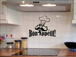 Bon Appetit Chef Wall Decals Kitchen Decor Sticker Quotes Removable Vinyl Art