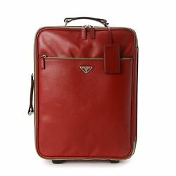 Prada Saffiano Rolling Suitcase Red Leather