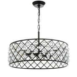 Gabrielle 23 In. 4-light Oil Rubbed Bronze Crystal/metal Led Pendant Jonathan Y