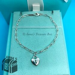 And Co. 925 Silver Love Locket 7andrdquo Oval Link Bracelet Box