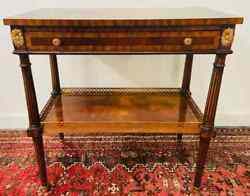 Regency Maitland Smith Brass Inlay On Mahogany Table With Side Extensions