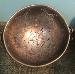 Vintage Colander 11 Aluminum Footed Strainer 7 Stars Handles Country Farmhouse