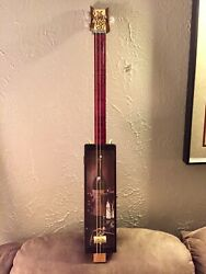 Handcrafted 3 String Slide Wine Box Guitar With Grape Headstock Art