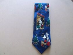 Disney Mickey Mouse Christmas At The Gift Shop Necktie 100 Silk