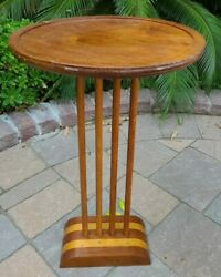 Mid Century Modern Inlaid Wood Accent Smoking End Pedestal Telephone Table