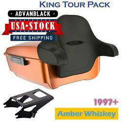 Advanblack Amber Whiskey King Tour Pack Trunk Luggage For 97+ Harley Touring