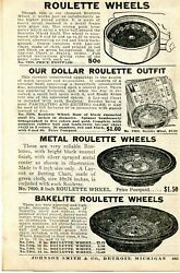 1938 Small Print Ad Of Metal And Bakelite Roulette Wheels