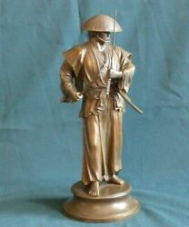Large Bronze Statuette Japanese Samurai With Two Swords