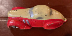 Vintage 1930/40and039s Sun Rubber Co. Toy Sedan Car-original Paint Red And Yellow