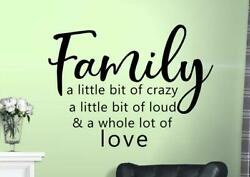 Wall Decals Family a Little Bit of Crazy Sticker Decor Quote Family Removable