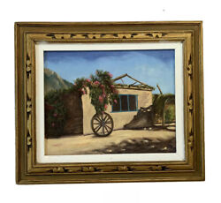 Oil Painting Adobe Home Southwest Landscape M. Williams Arizona Or New Mexico