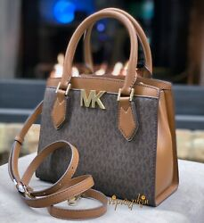 MICHAEL KORS MOTT MEDIUM MESSENGER MK SIGNATURE PVC LEATHER SATCHEL BAG BROWN $89.80