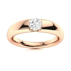 Certified 0.35 Ctw Diamond Mens Solitaire Band Ring 14k Rose Gold Sz 10.5