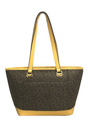 Calvin Klein Janae Mercy Signature Tote Bag Brown Mustard $59.99