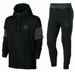 Nike Air Mens Tracksuit Fleece Hoodie Joggers Black Navy Rrp Andpound150 S M L Xl