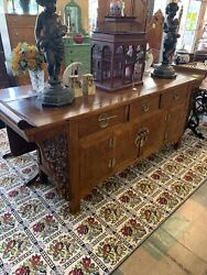 Chinese Brass Mounted Hardwood Alter Cabinet Buffet/sever C. 1900