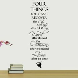 Four Things You Can#x27;t Recover Quote Wall Decal Sitcker Decor Removable for Home