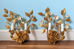 Pair 20th Century Italian Gold Gilt With Porcelain Flowers Electric Wall Sconces