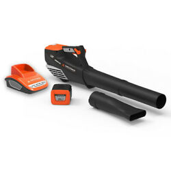 Cordless Electric Leaf Blower Orange 60v 140 Mph Battery And Charger Included