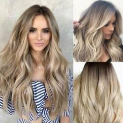 Womens Ombre Blonde Long Curly Hair Wig Heat Resistant Cosplay Party Full Wigs