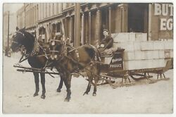 1909 Muskegon, Michigan - Real Photo Horse Drawn Produce Sled In Snow