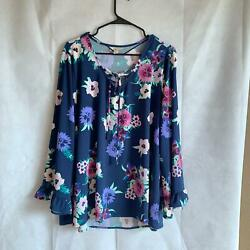 Styleamp;Co Womens Plus 1X Top Blue Floral Lace Up Front Blouse $8.79